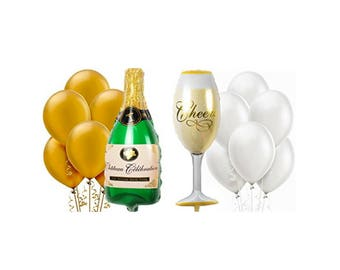 "Champagne Bottle Balloon, Champagne Glass Balloon, 36"", 38"", Foil Balloon, Engagement Party, Anniversary, Bachelorette, Cheers, Latex, 12"""