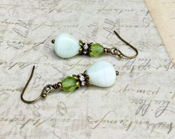 Green Earrings, White Earrings, Olive Green Earrings, Mint Green Earrings, Victorian Earrings, Czech Glass Beads, Womens Earrings, Gifts