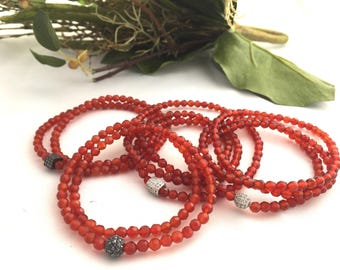Red Faceted 4mm Agate Stone Bracelet- Triple Wrap Red Stone Bracelets- Stretch Bracelet- Beaded Wrap Bracelet- Gift for Her- Holiday Jewelry