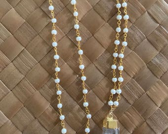 Pearl Rosary Chain Necklace with crystal