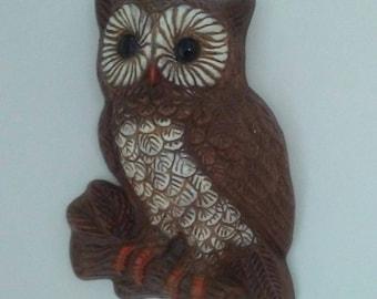 Owl Wall Hanging, Owl Wall Decor, Vintage Kitsch, Brown White Owl, Small Owl, Hand Painted Owl, Owl Wall Art, Boho Plastic Owl, Resin Owl
