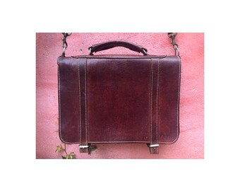 1950s Rustic Steampunk Leather large Messenger BAG // laptop recycled // Vintage leather satchel