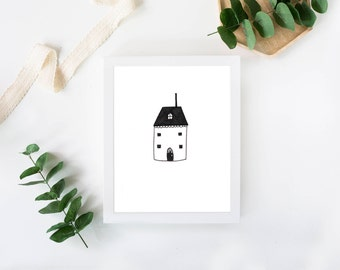 Tiny House Print, Housewarmig gift, New Home wall art, Home decor,Minimalist art, House Poster, House drawing, Prints illustration