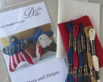 Primitive Punch Needle Paper Pattern ~ Americana ~ Needle Punch Embroidery Mailed Pattern ~ PunchNeedle Stars and Stripes ~ Patriotic