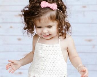 Crochet Baby Crop Top, Baby Crop Top, Ivory Baby Crop Top, Baby Halter Top, Crochet Halter Top, Pom Pom Crop Top, Newborn Girl Gift, Baby