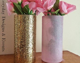 2 Gold and Pink Vases, Centerpieces for Wedding, Baby Shower, Bridal Shower, Girls Birthday Decorations Shower Centerpiece, Pink Centerpiece
