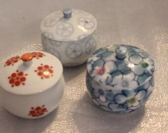 Vintage Japanese Salt bowls trinket box Signed on bottom jar bowl dish flowers porcelain