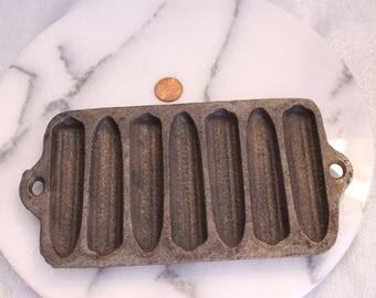Vintage Cast Iron Cornbread Corn Cobb Pan Vintage Ironware Stamped 1