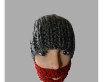 Hand Knitted Child Youth Beanie Hat with Beard V5519