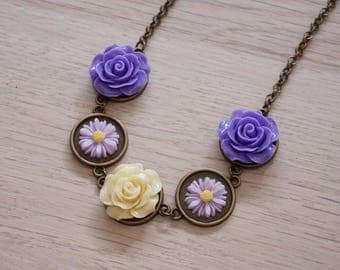Purple rose necklace Lavender flower necklace Lavender necklace Lavender bridesmaid gifts Ivory bridesmaid necklace Light purple necklace