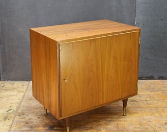 Petite Danish Teak Credenza Single Door Cabinet Brass Hundevad now with Skeleton Key Vintage Mid-Century