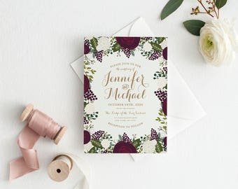 Floral Wedding Invitation, Floral Invitation, Vintage Invitation, Burgundy Floral Wedding Invitation, Printed Wedding Invitations #CL123