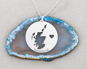 SALE • Scotland Necklace • Scotland Pendant • Country Jewelry Scottish Charm • Personalized Country Necklace • Map Jewelry • Travel Charm