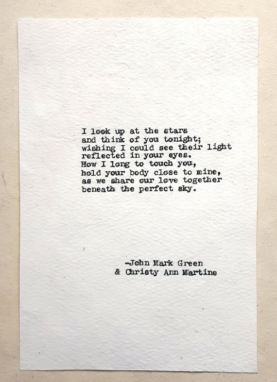 Long Distance Gifts for Boyfriend or Girlfriend - Beneath the Perfect Sky Poem - LDR Gifts for Him or Her - John Mark Green