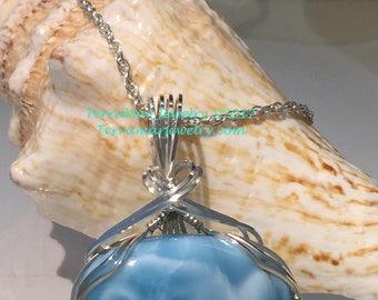 Larimar Genuine Larimar Pendant Necklace Wire Wrapped in Argentium Silver