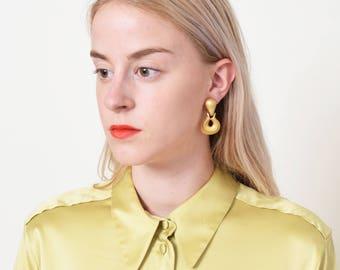 Petite Door Knocker Earrings Vintage Matte Goldtone Doorknockers