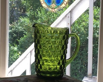 Vintage Green Glass Pitcher, Indiana Glass Olive Green Pitcher, 64 Ounce Jug Whitehall Pattern 521, Avocado Green Lancaster Colony Glassware