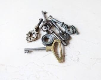 Set of 5 Skeleton Keys-Antiqued Bronze Brass Skeleton Keys-Vintage Old Key-The Collectors Key-Antique metal key-Old key-rustic home decor