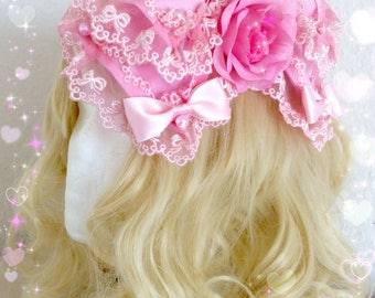 Cute pink-mint Lolita headbow, decorated with roses,blossoms and pearls!
