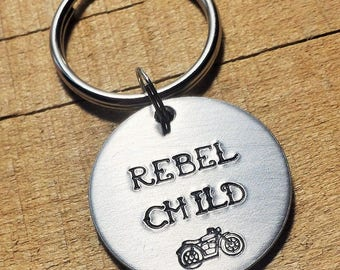 Motorcycle Keychain - Gift for Motorcycle Riders - Rebel Child - Motorcycle Gift - Biker Keychain - Biker Keyring - Biker Key Ring