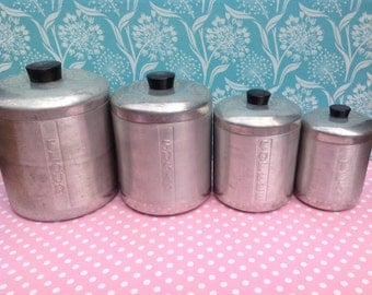 Spun aluminum canisters, metal kitchen canisters, mid century, sugar coffee flour tea