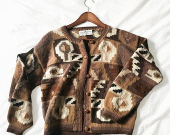 Awesome desert mod 100% alpaca cardigan / Womens XS