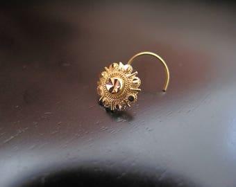 18k Gold Nose Stud, 18k Gold Nose Ring, 18k Indian Gold Nose Ring, Gold Boho Jewelry