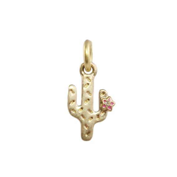 cactus charm pendant dainty gold southwestern boho chic