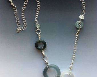 Lifesaver Necklace in Frosted Grays Clustered: handmade glass lampwork beads with sterling silver components