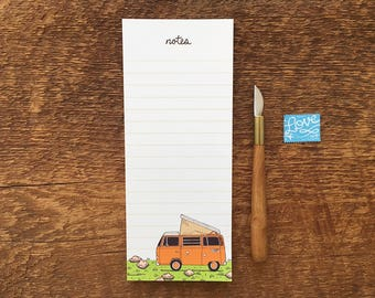 Camper Van Notepad, Camper Van Notes, Volkswagen Bus, Westfalia, 3.5 x 8.5 List Pad with Attachable Magnet