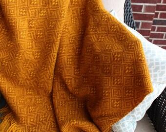 Vintage 70's Pendleton Mustard Yellow Wool Blanket Throw