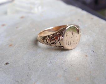 Victorian Signet Ring 10k Posie Flower Art Deco Orange Blossom yellow gold letter ladies initial monogram forget me not mans