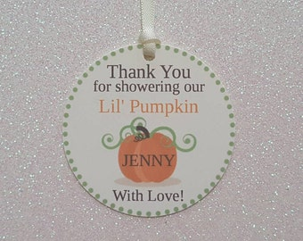 PUMPKIN Baby Shower Favor Tags *Thank You for Showering Our Lil' Pumpkin  With Love Gift Tags *Personalized *Assembled w/ Ivory Satin Ribbon