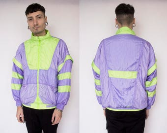 CYBER TRACK JACKET -purple, green, neon, 90s, vaporwave, pastel, aesthetic, rave, festival, club kid, color block, lilac-