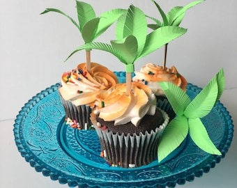 Palm Tree Cupcake Toppers // Tropical Cupcake Toppers