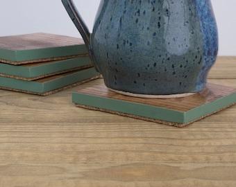 Wood Coasters | Sage Green Edge | Wood Decor | Housewarming Gift | Coaster Set