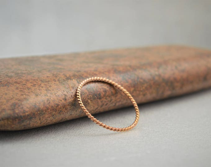 Thin Solid 14k Rose Gold Twist Stackable Ring(s), Stacking Rings, Dainty Rose Gold Ring, Solid Rose Gold Ring, Rose Gold Rings, Spiral Ring