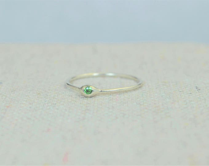Dainty Silver Emerald Mothers Ring, Emerald Birthstone, Tiny Emerald Ring, Dew Drop Ring, Sterling Silver, Stacking Ring, May Birthday Gift