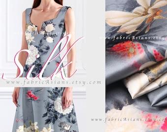 Light grey silk chrysanthemum birds fabric by the yard