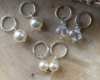 Ivory Bridal Hair Charms Made With Swarovski Pearls & Crystals - Hair Rings – Hair Piercings - Hair Jewellery - Hair Accessory