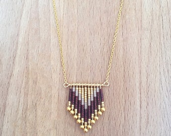 Fan necklace geometric Chevron gold plated