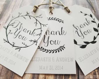 White Personalized》THANK YOU TAG《Laurel Wreath Custom Favor/Gift Tag