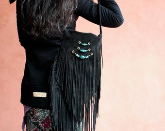 Leather Fringe Bag with Turquoise . Nomad World .Bohemian , gypsy,Hippie,boho,trib,bellydance