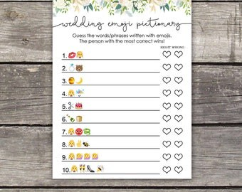 Greenery Bridal Emoji Pictionary Game Ivory and Greenery - Bridal Shower Activity - Floral Bridal Shower Game - Instant Download Bridal-107