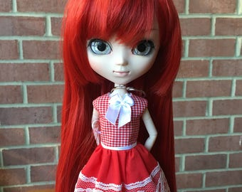 Red and white gingham lace Pullip doll dress