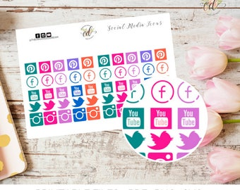 Social Media Planner Stickers | Two Dollar Tuesday | Planners | Organizers | Sticker Sheets | Social Media Stickers | Blog Planner Stickers