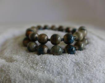 Brown Bracelet, Blue Bracelet, Beaded Wrap Bracelet, Bangle Bracelet, Memory Wire Bracelet, Coil Bracelet,Beaded Bangle Bracelet,