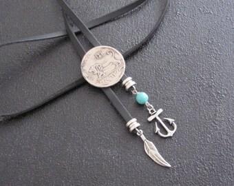 Bolo Tie, Boo ties, Bolo tie For Men, Women, Fashion Bolo Tie, Coin Necklace, Anchor Necklace, Feather Necklace, Anchor Gift, Feather Gift