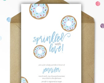 Baby Shower Invitations - Baby Shower - Baby Boy - Donut Baby Shower Invite - Baby Sprinkle Invitations - Printable - Personalized - 5x7