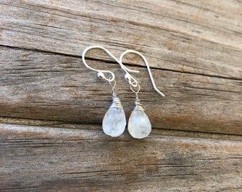 Teardrop Moonstone Earrings, Natural Gemstone earrings, Drop Earrings, Stone earrings, Gifts for her, Moonstone Earrings, Christmas Gift